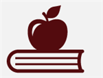 Apple on top of book icon.