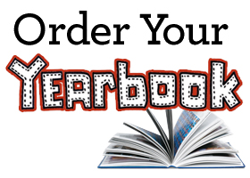 Picture of a yearbook opened with text stating order your yearbook on top