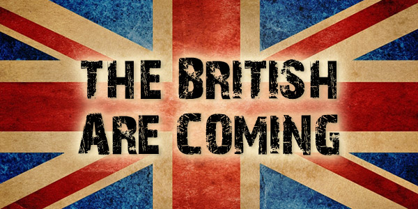 British flag with text stating the British are coming