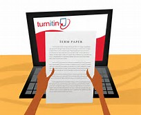 Drawing of a computer with hands holding up a paper with the Turnitin Logo at the top