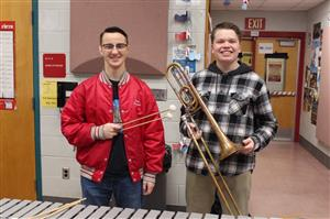 Photo of Craig DiGiamarino and Matt Wall who were accepted into the New Jersey All State Symphonic Band and the New Jers