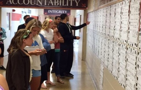 Cherokee students at the College Wall, checking out the seniors' post graduation plans.