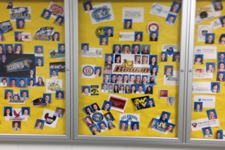 Pictures of Seneca's teachers displayed next to the college or university they attended.