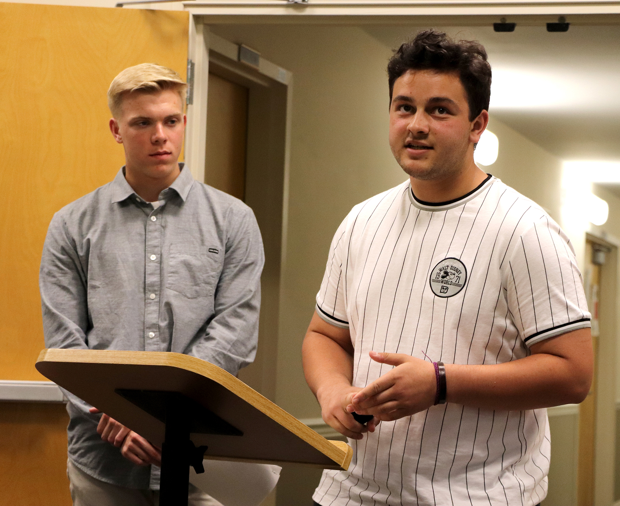 Seneca Students Andrew Gallagher and Stephen Oliva presenting to the board