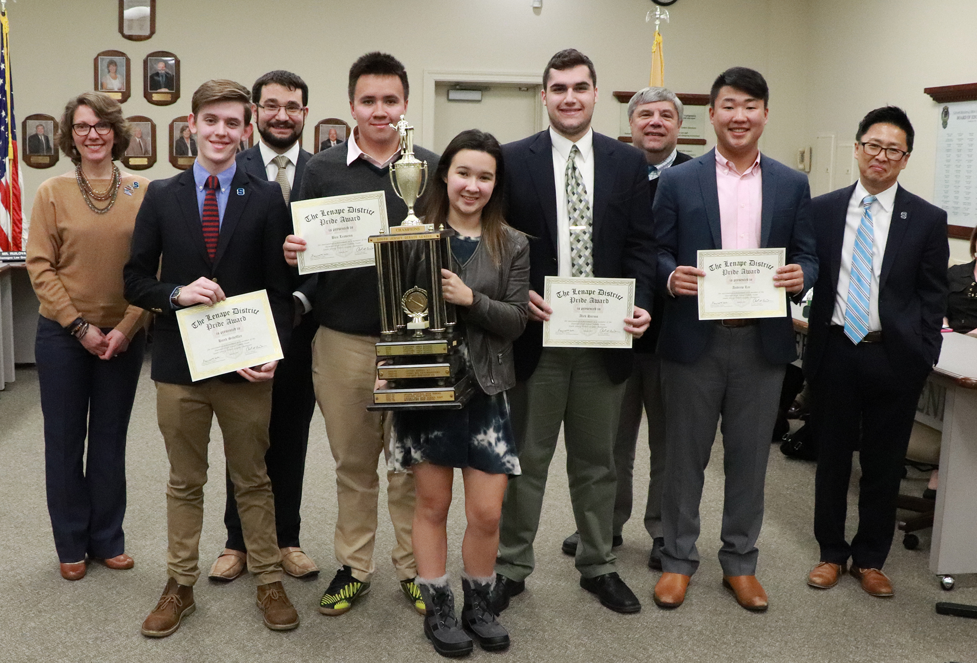 Shawnee High School Debate Team being recognized by Board of Education