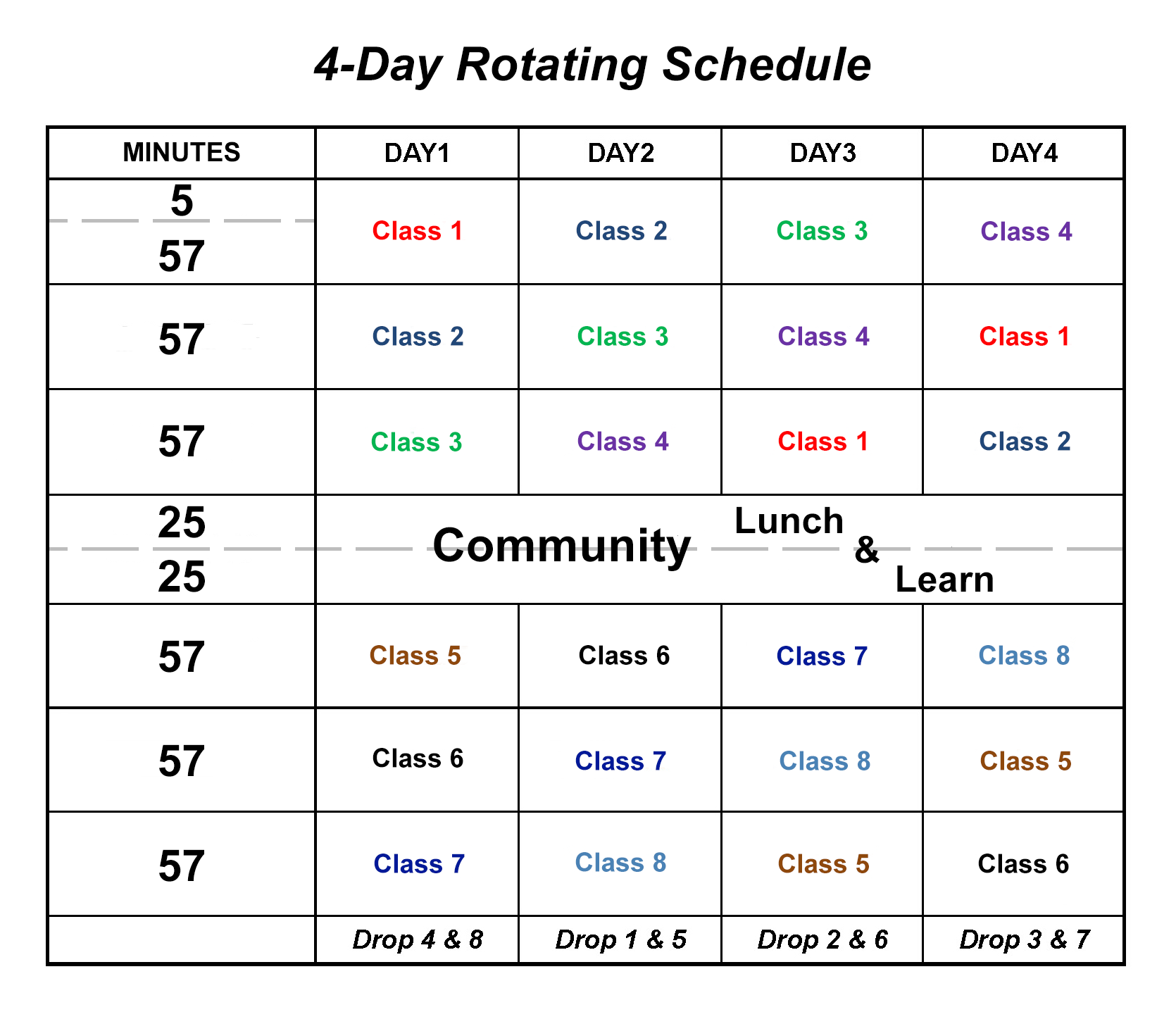 Four-Day Rotating Schedule / Four-Day Rotating Schedule