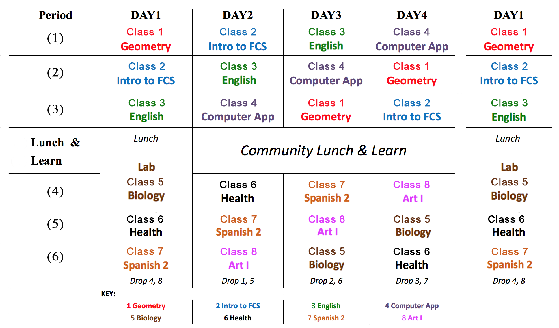 Four Day Rotating Schedule Student Schedule