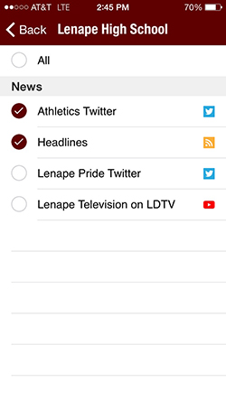 Lenape High School news options screen