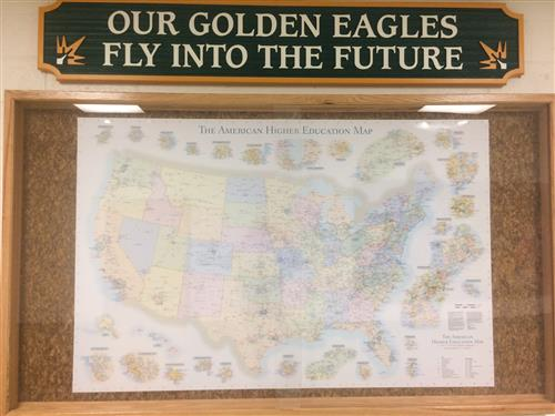The college map display shows the college choice of Seneca's graduating seniors