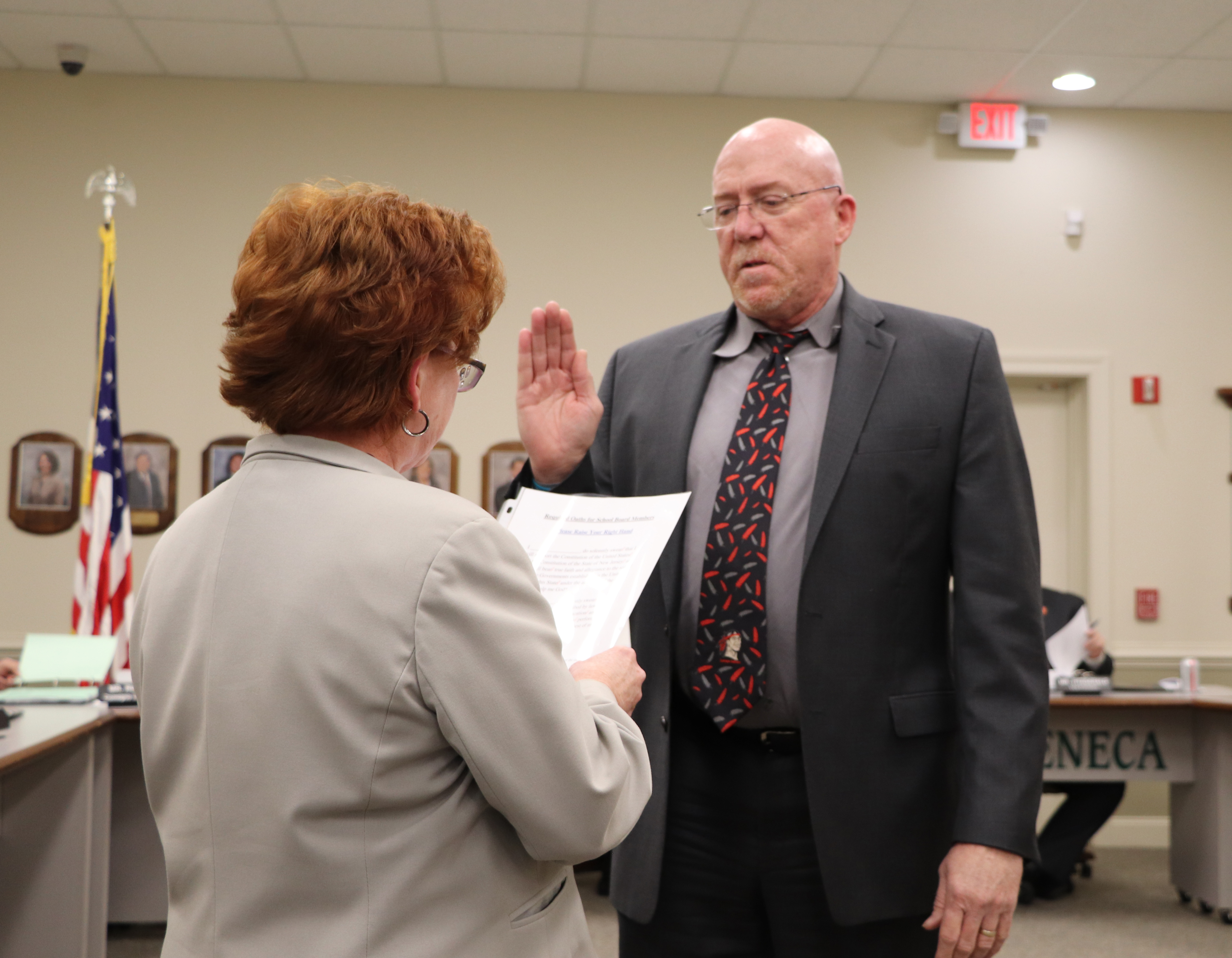 John Jeffers being sworn in for a new term.